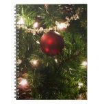Christmas Tree I Holiday Pretty Green and Red Spiral Notebook