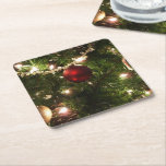 Christmas Tree I Holiday Pretty Green and Red Square Paper Coaster