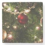 Christmas Tree I Holiday Pretty Green and Red Stone Coaster