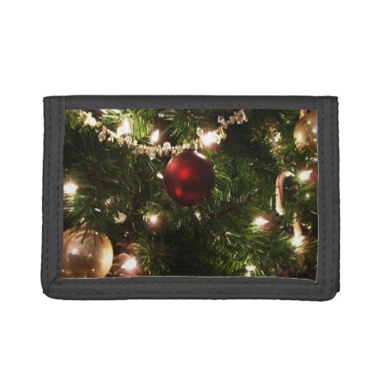Christmas Tree I Holiday Pretty Green and Red Tri-fold Wallet