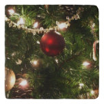 Christmas Tree I Holiday Pretty Green and Red Trivet