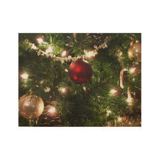 Christmas Tree I Holiday Pretty Green and Red Wood Poster