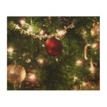 Christmas Tree I Holiday Pretty Green and Red Wood Wall Art