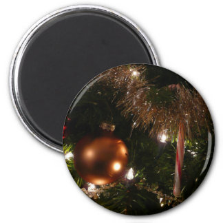 Christmas Tree II Holiday Candy Cane and Tinsel 2 Inch Round Magnet
