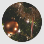 Christmas Tree II Holiday Candy Cane and Tinsel Classic Round Sticker