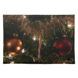 Christmas Tree II Holiday Candy Cane and Tinsel Cloth Placemat