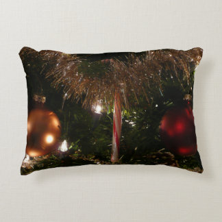 Christmas Tree II Holiday Candy Cane and Tinsel Decorative Pillow