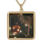 Christmas Tree II Holiday Candy Cane and Tinsel Gold Plated Necklace