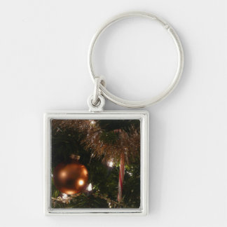 Christmas Tree II Holiday Candy Cane and Tinsel Keychain