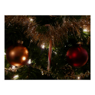 Christmas Tree II Holiday Candy Cane and Tinsel Poster
