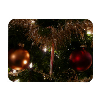 Christmas Tree II Holiday Candy Cane and Tinsel Rectangular Photo Magnet