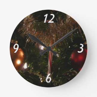 Christmas Tree II Holiday Candy Cane and Tinsel Round Clock
