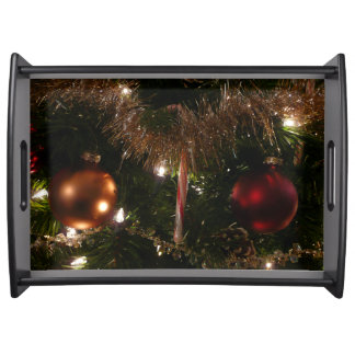Christmas Tree II Holiday Candy Cane and Tinsel Serving Tray