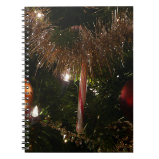 Christmas Tree II Holiday Candy Cane and Tinsel Spiral Notebook
