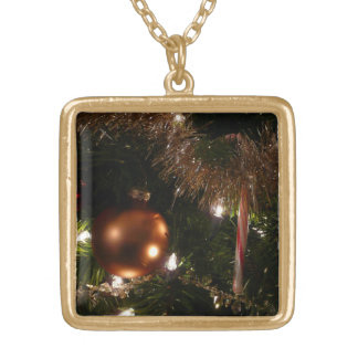 Christmas Tree II Holiday Candy Cane and Tinsel Square Pendant Necklace