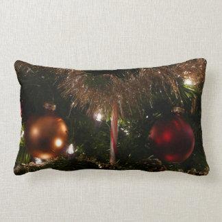 Christmas Tree II Holiday Candy Cane and Tinsel Throw Pillow