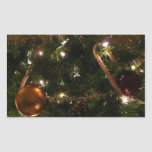 Christmas Tree III Holiday Candy Cane and Ornament Rectangular Sticker