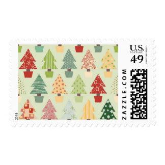 Christmas tree illustrated pattern postage