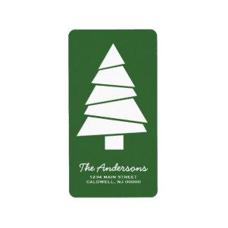 Christmas Tree Illustration Return Address Labels