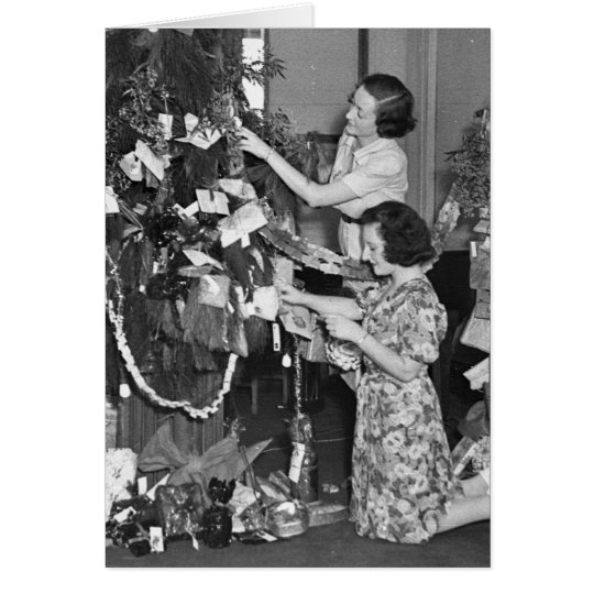Christmas tree in 2UW studio, 24/12/1937 Card
