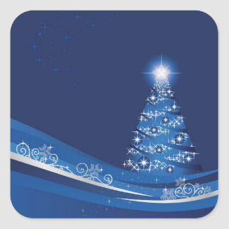 Christmas tree in a blue winter garden sticker