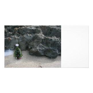 Christmas Tree In Front Of Rocks.jpg Custom Photo Card
