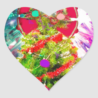 Christmas Tree in full colors Heart Sticker