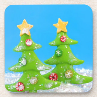 Christmas tree in glitter snow coaster
