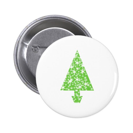 Christmas Tree in Green and White. Button