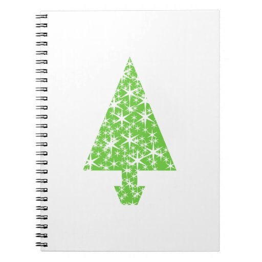 Christmas Tree in Green and White. Notebook