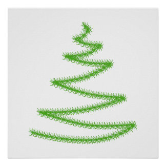 Christmas Tree in Green Simple and Stylish Poster