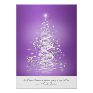 Christmas Tree In Purple Poster