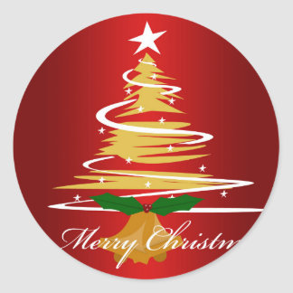 CHRISTMAS TREE IN RED AND GREEN CLASSIC ROUND STICKER