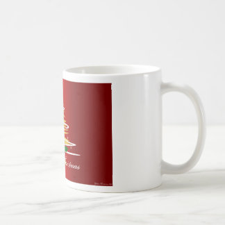 CHRISTMAS TREE IN RED AND GREEN COFFEE MUG