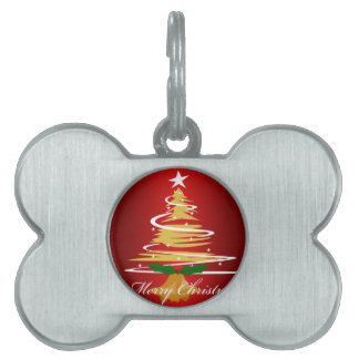 CHRISTMAS TREE IN RED AND GREEN PET ID TAG