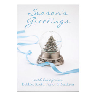 Christmas tree in snow globe with ribbon card