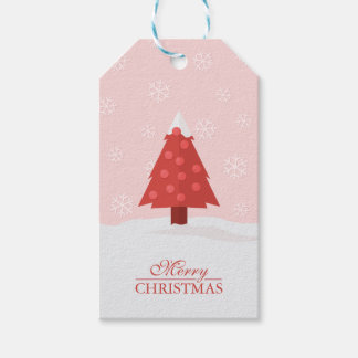 Christmas Tree in Snow with Snowflakes Gift Tags