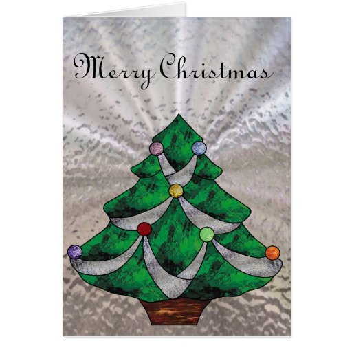 Christmas tree in stained glass greeting card zazzle
