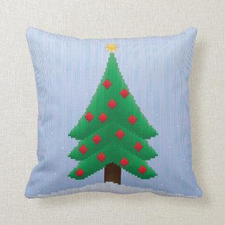 Christmas Tree in Stripes Throw Pillow