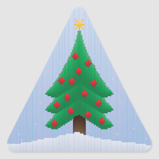 Christmas Tree in Stripes Triangle Sticker