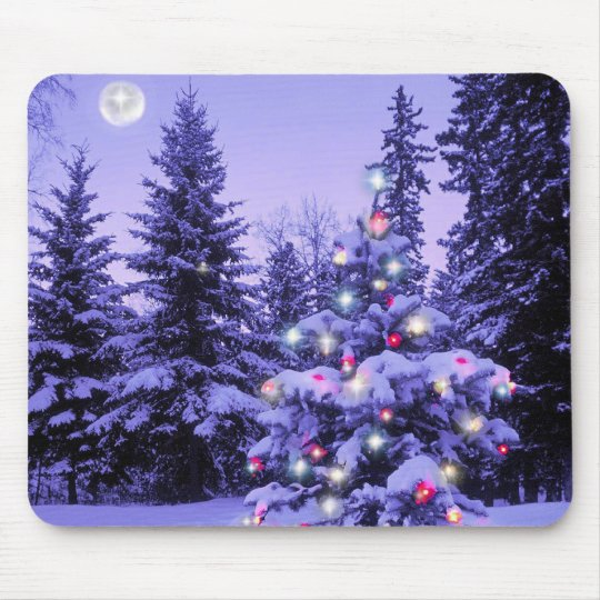 Christmas Tree in the Forest Mouse Pad