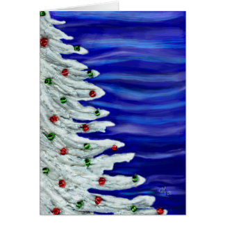 Christmas tree in white. card