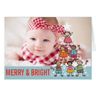 Christmas Tree Kids Holiday Birth Announcement Card
