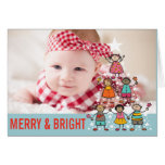 Christmas Tree Kids Holiday Birth Announcement Greeting Card
