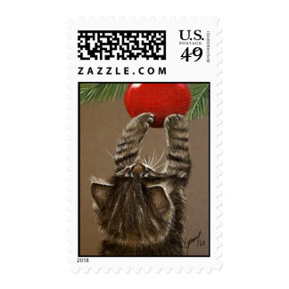 Christmas Tree Kitten Postage Stamps
