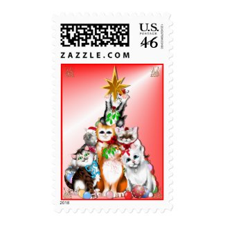 Christmas Tree Kittens Postage