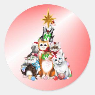 Christmas Tree Kittens Sticker