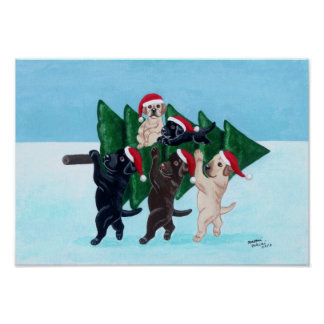 Christmas Tree Labradors in the Snow Field Artwork Posters