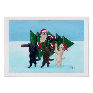 Christmas Tree Labradors in the Snow Field Artwork Poster
