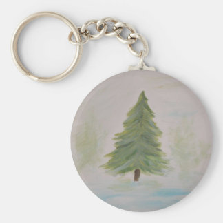 Christmas Tree landscape image Keychain
